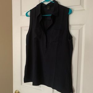 Ann Taylor Sleeveless Navy Blouse